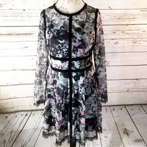 Fire Los Angeles Floral Lace Overlay Dress
